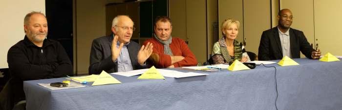 De gauche à droite: Eric Pharipou, secrétaire général, Michel Coccetta, commissaire aux comptes, Laurent Seite, président, Anne-Marie Gilger-Trigon, élue, Pascal Portecop, trésorier générale.